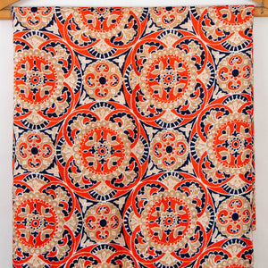 Vintage Fabric Geometric Tile Rosette Pattern