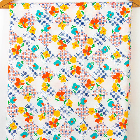 Vintage Fabric 1970s Geometric Floral Cotton Blend