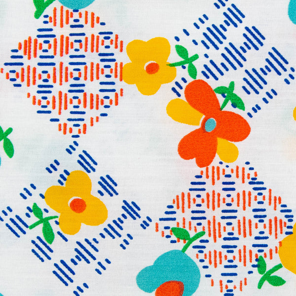 Vintage Floral Geometric Fabric 1970s