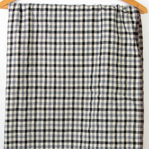 Vintage Wool Fabric Black & Grey Plaid