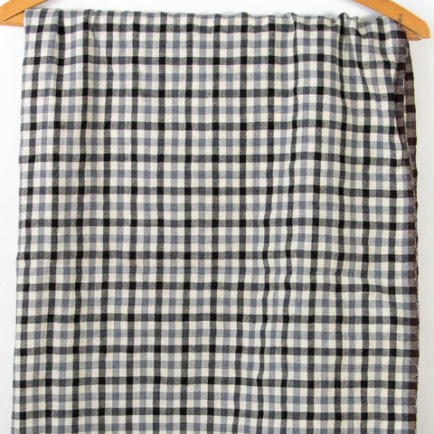 Wool Fabric Black and Grey Plaid Pattern