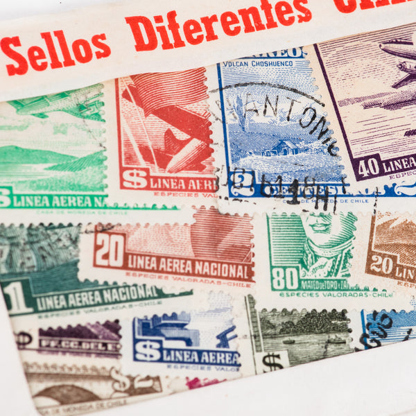 Vintage Chile Stamp Packet / 50 Stamps
