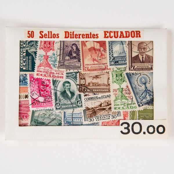 Vintage Ecuador Stamp Packet / 50 Stamps