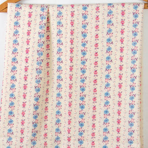 Vintage Fabric Floral Striped Cotton / 3+ Yards