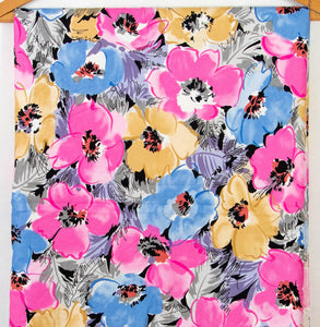 Vintage Fabric Bright Floral Cotton Great for Quilting