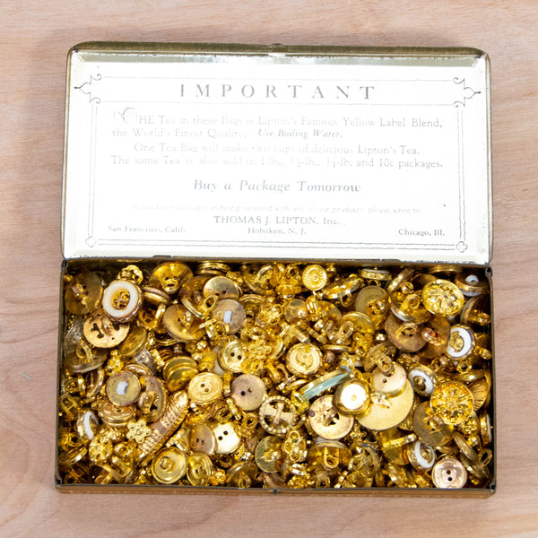 Button Collection - Gold Buttons in a Vintage Advertising Tin