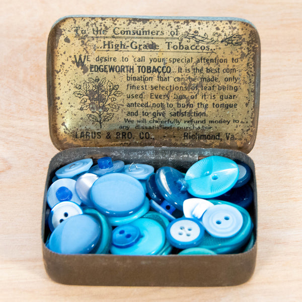 Button Collection - Vintage Blue Buttons in a Vintage Advertising Tin