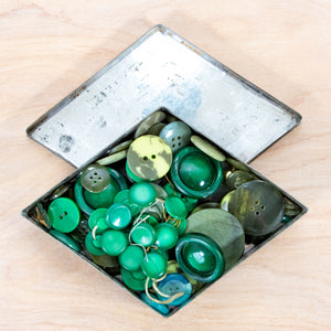 Button Collection - Vintage Green Buttons in a Vintage Tin