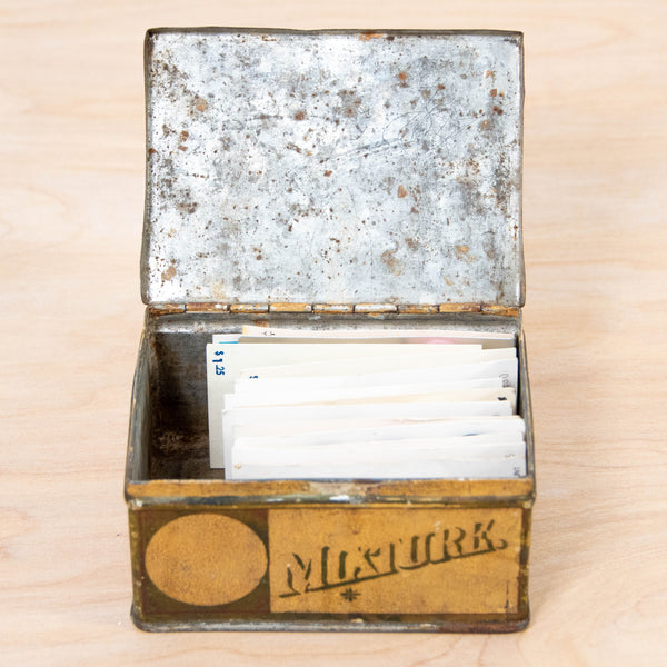 Button Collection - Vintage Buttons on Cardbacks in an Antique Tobacco Tin, late 1800s