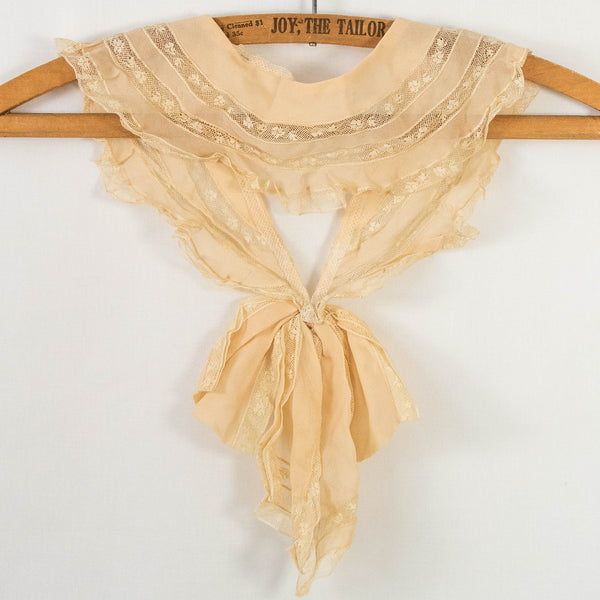 Antique Collar Silk Crepe and Lace Tie Front Bow