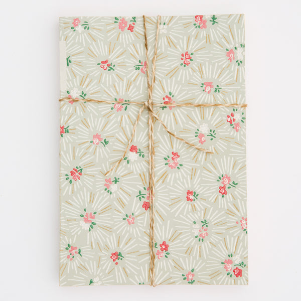 Notebook with Midcentury Wallpaper Cover - Small Floral Pattern