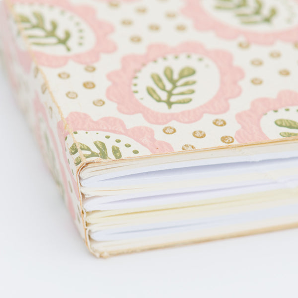 Notebook with Midcentury Wallpaper Cover - Leaf Pattern