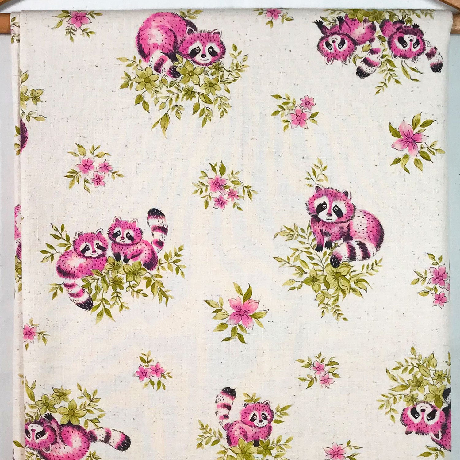 Pink Raccoon Cotton Muslin Vintage Fabric