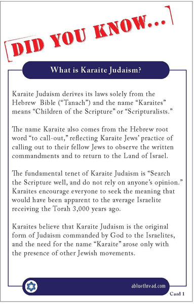 Karaite Fact Cards (1-8)