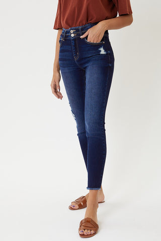 High Rise Ankle Skinny - Medium Wash