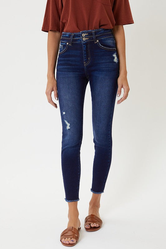 Distressed Skinny High Rise Dble Button - Med Wash