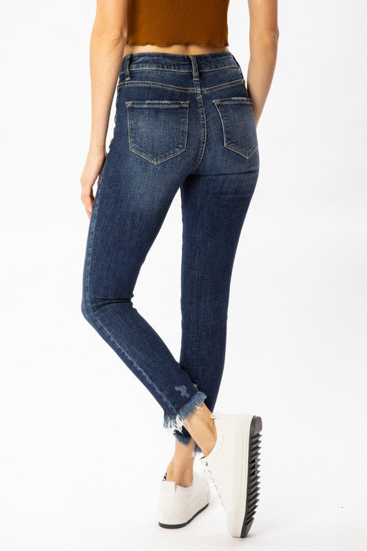 Distressed Button Fly High Rise Skinny - Dk Wash