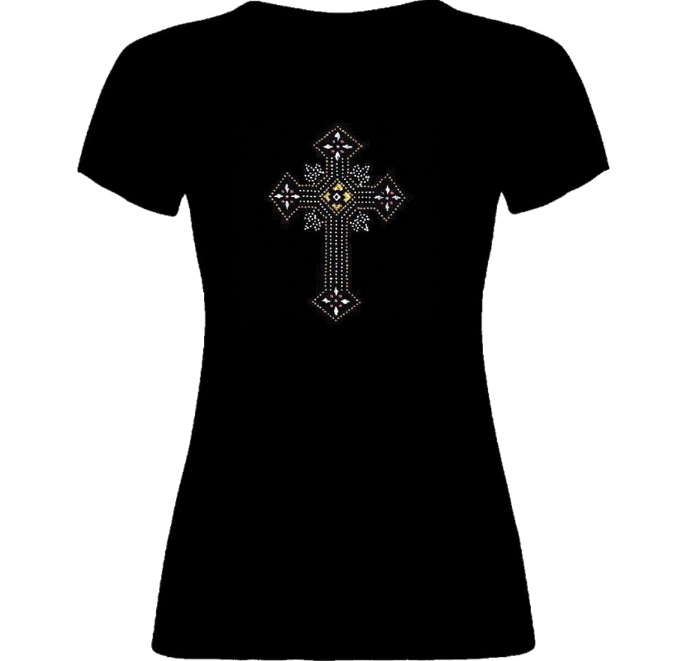 Rhinestone Cross T-Shirt - TruthWear Clothing