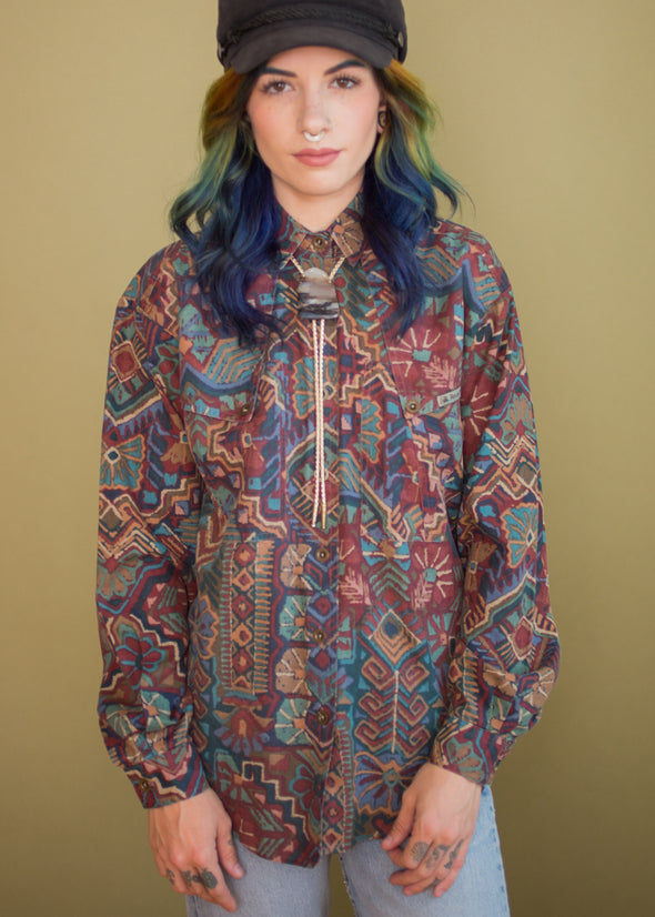Vintage 90s Western Abstract Print Button Up