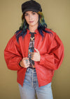 Vintage 1980s Leather Balloon Sleeve Jacket