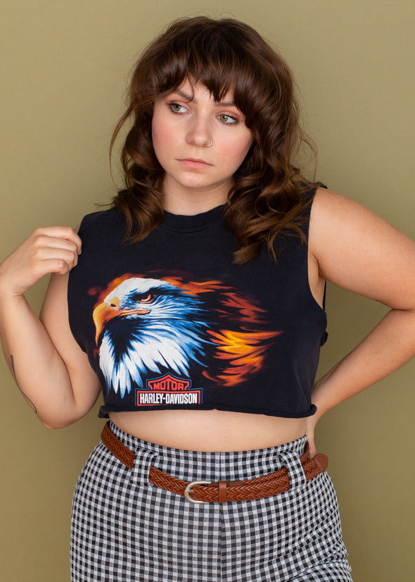 Vintage 90s Harley American and Proud Cropped Tank