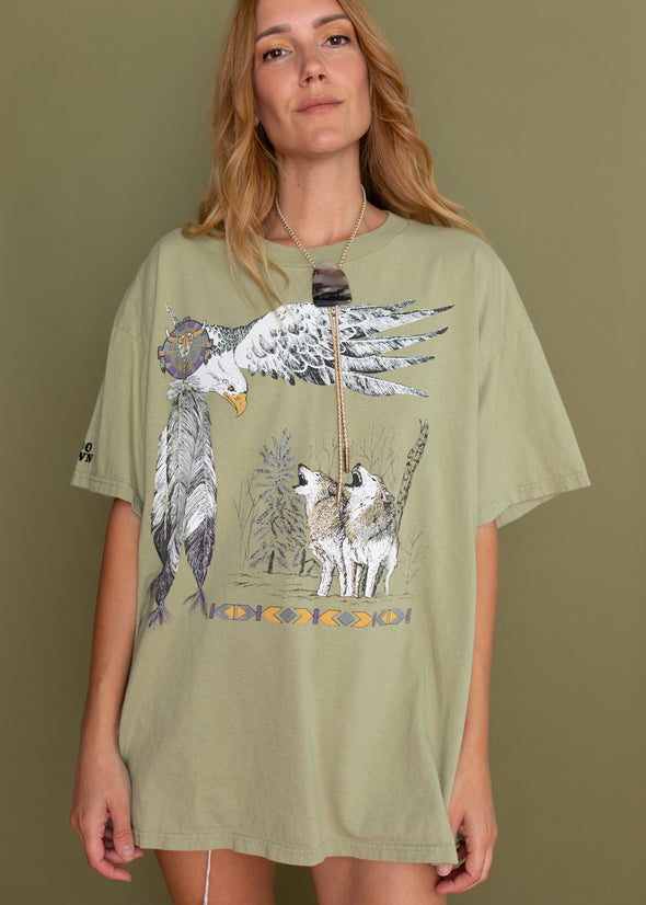 Vintage 90s Southwestern Wolf and Eagle Tee