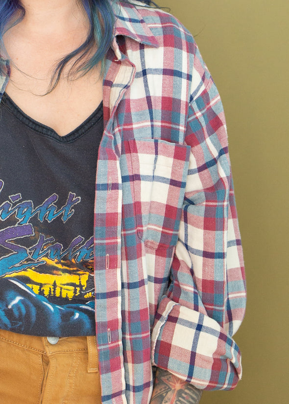 Vintage 90s Cool Tone Plaid Flannel