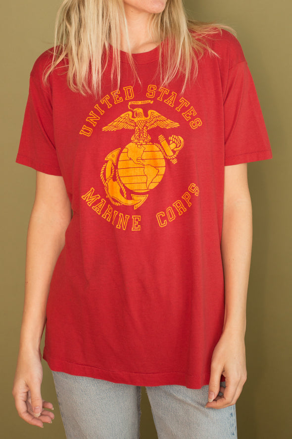 Vintage Paper Thin 1980's Marine Corps Tee