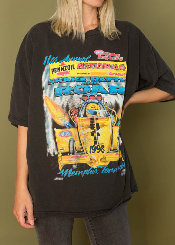 Vintagem 90's Memphis Tennessee Drag Racing Nationals Tee