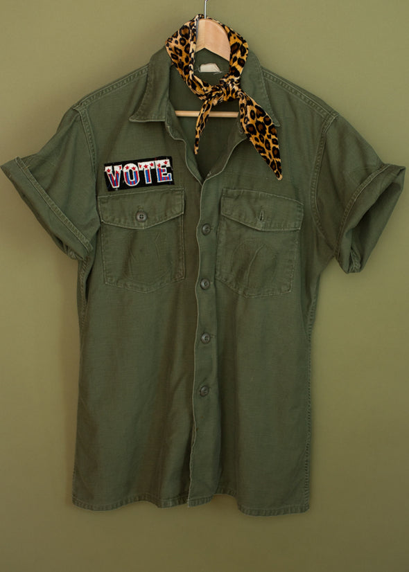 Vintage Short Sleeve Army Jacket with VOTE Patch