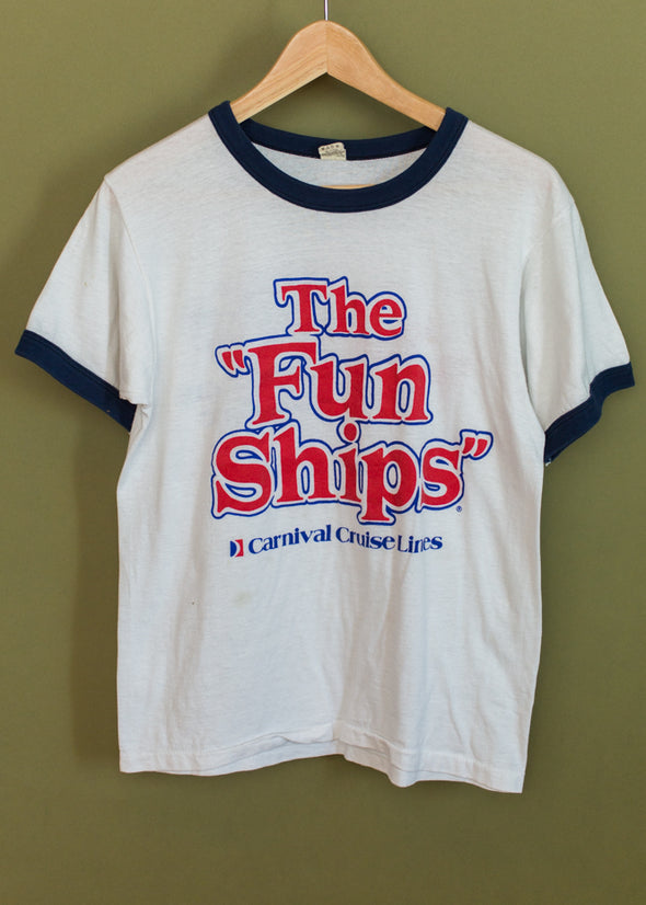 "Vintage Carnival Cruise Line ""The Fun Ships"" Paper Thin Ringer Tee"