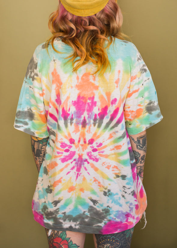 Vintage 90s Tie Dye Yough River Paddle or Die Tee