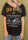 "Vintage Off The Shoulder ""Old Bikes and Good Whiskey"" Tee"