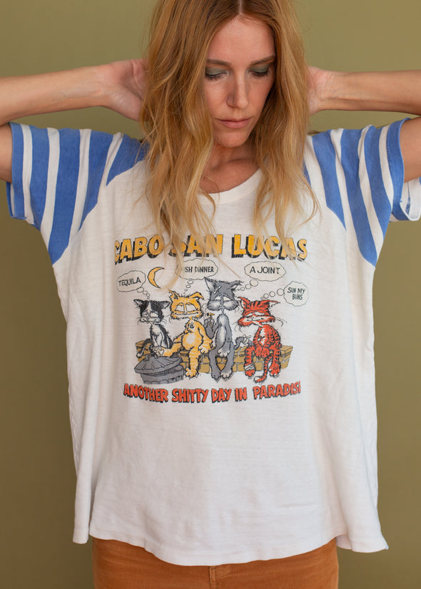 Vintage 80s Funny Cabo Cat Tee