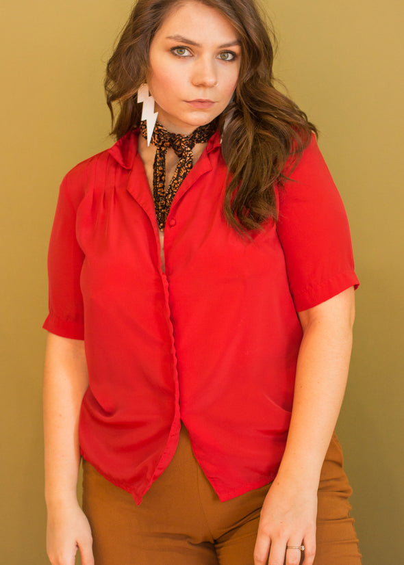 Vintage Button Up Red Blouse