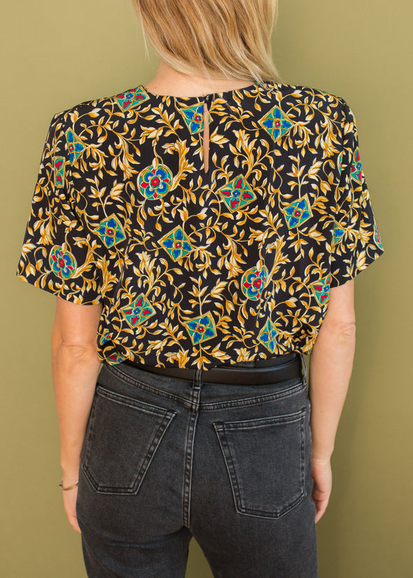 Vintage Gold and Black Blouse
