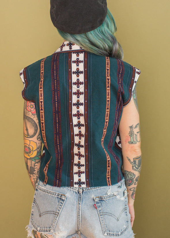 Vintage Southwestern Button Up Cropped Tank