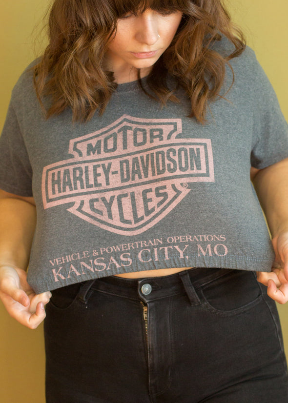 Vintage 90s Upcycled Harley Cropped Tee
