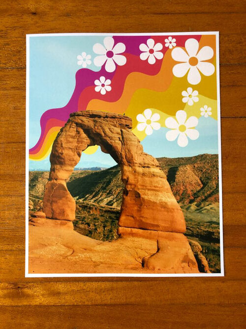 Red + Yellow Wave Arch Print