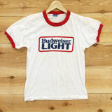 Vintage 1980's Budwesier Light Ringer Tee - Electric West