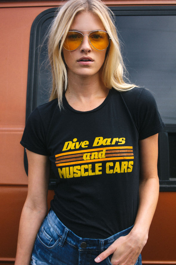 1970s inspired dive bars and muscle cars tee