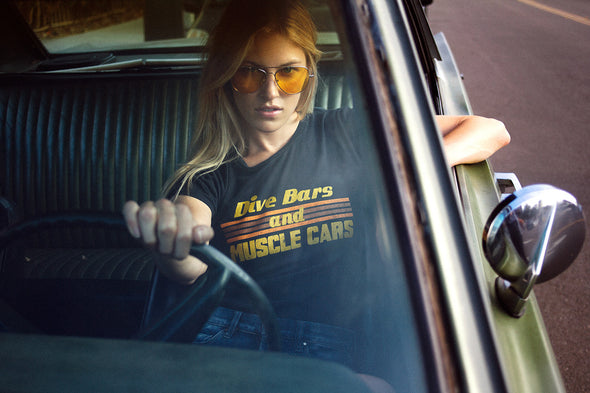 vintage 1970s 70s inspired dive bars and muscle cars graphic tee electric west