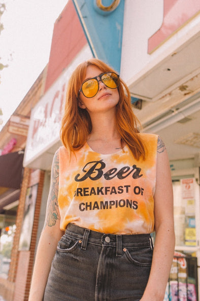 Beer Breakfast of Champions Tie Dye Tank Coral
