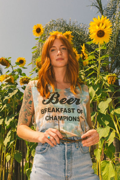 Beer Breakfast of Champions Tie Dye Tank Blue