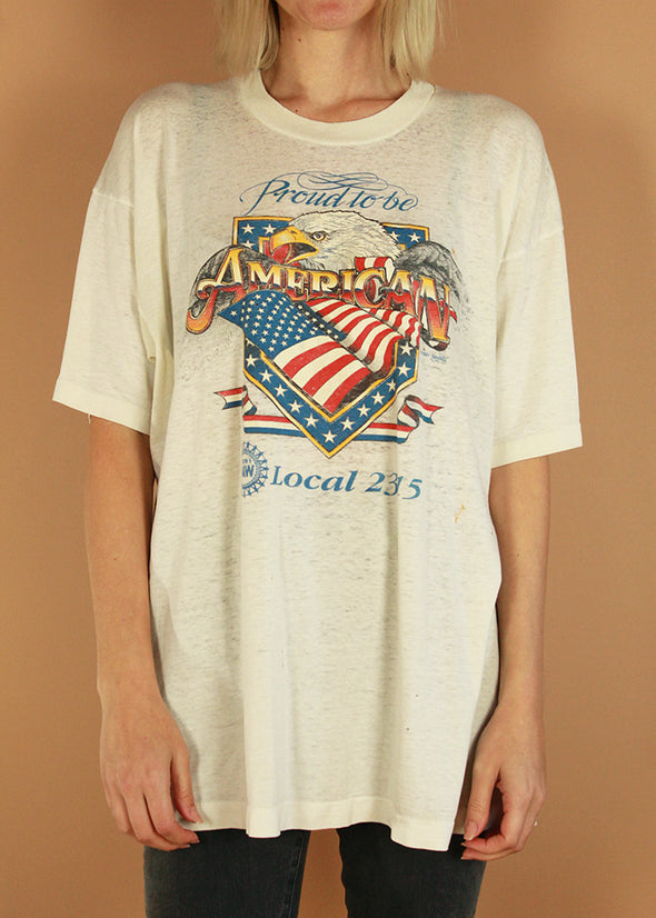 Vintage 1991 Proud to be an American Paper Thin Tee