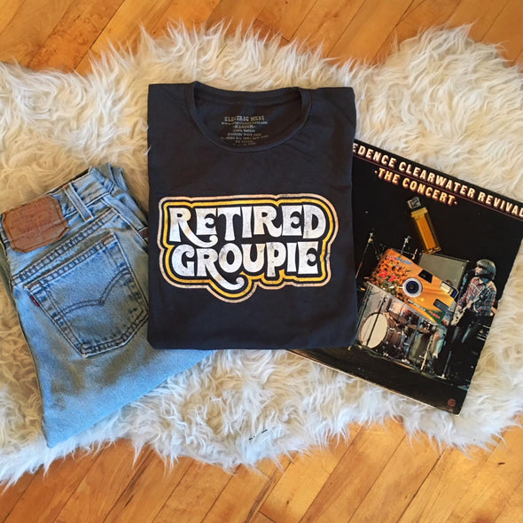 vintage 1970s 70 inspired retired groupie band t-shirt electric west