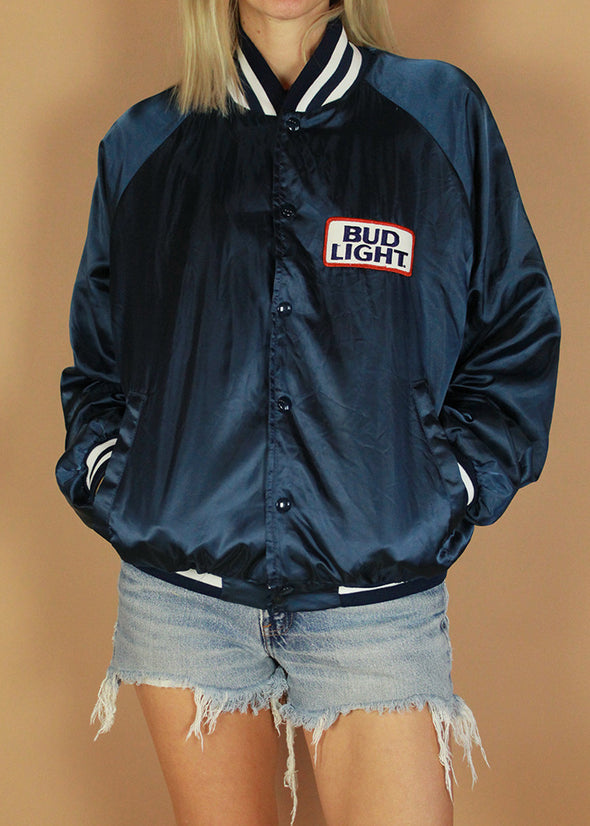 Vintage Bud Light Satin Bomber Jacket