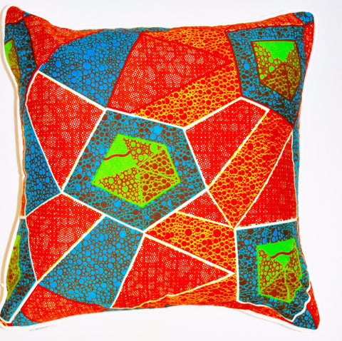 """Orange Summer"" Square Wax Print pillow"