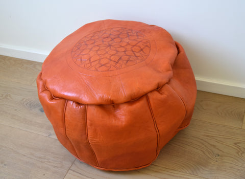 """Spice"" Moroccan leather pouf"