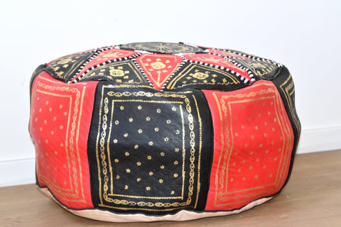 """Gibraltar hues"" Moroccan leather pouf"